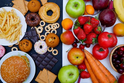 healthy food vs junk food by Natalia Mels shutterstock_650096614