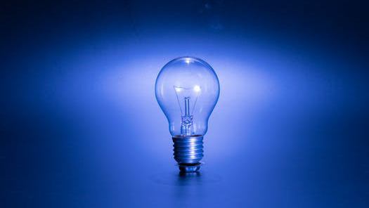 lightbulb with blue background